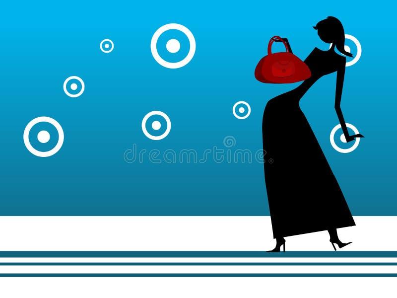 Dame met het winkelen zak royalty-vrije illustratie