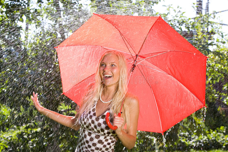 Dame met paraplu royalty-vrije stock fotografie