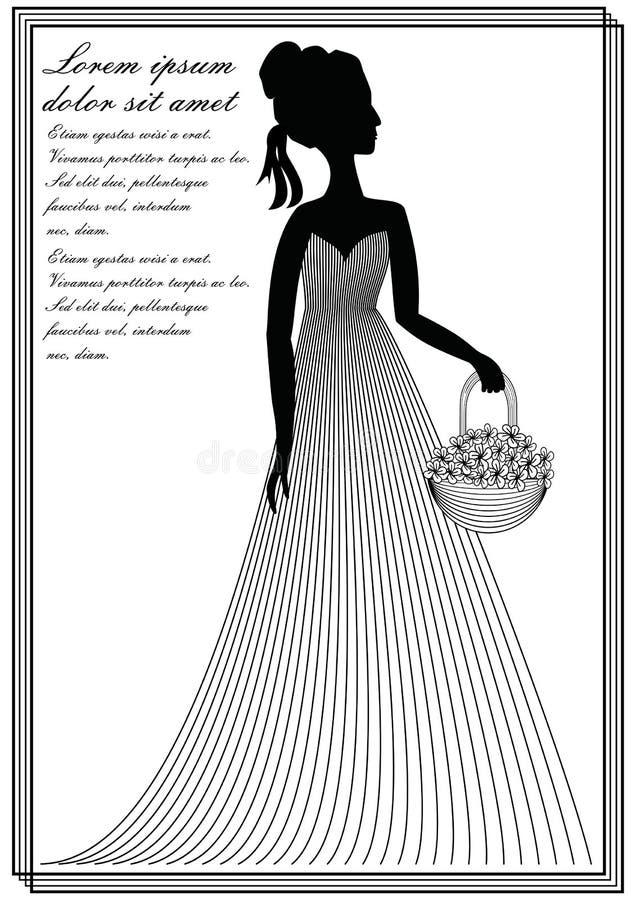 Dame mit Blumenkorb, einfarbige Linie Kunstzeichnung in der Victorianart, Einladungsschablone, Mitteilung, Broschüre, Flieger, Re lizenzfreie abbildung