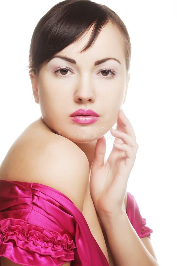Dame mit den rosa Lippen stockbilder