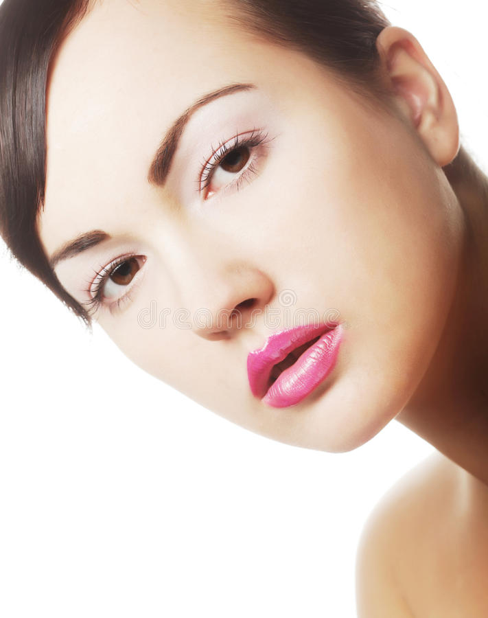 Dame mit den rosa Lippen stockfotos