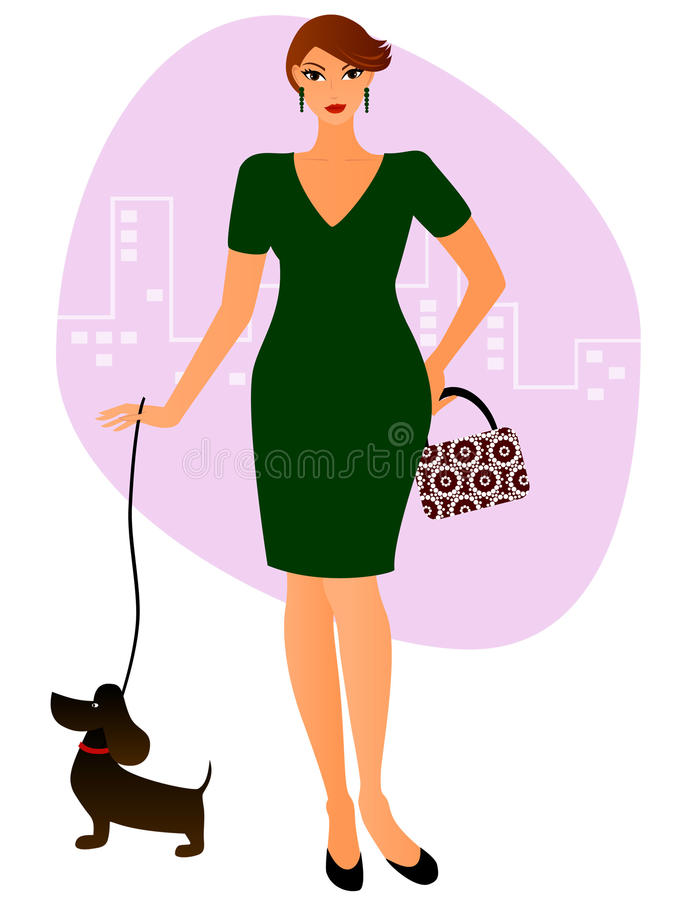Dame mit einem Hund vektor abbildung