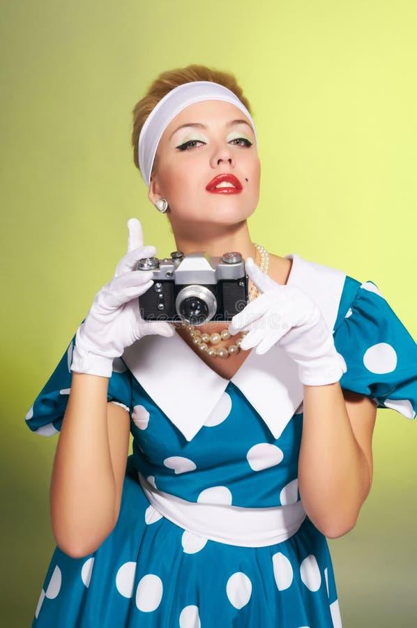 Dame mit einer Kamera stockfotos