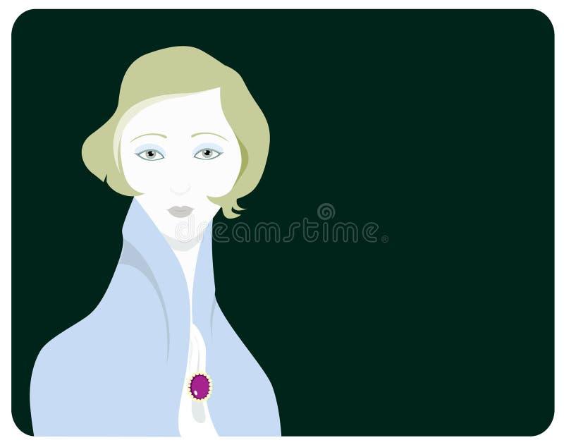Dame mit einer purpurroten Ahle vektor abbildung