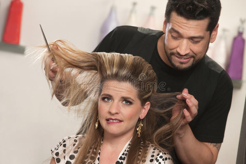 Dame mit Haar-Problem stockfoto
