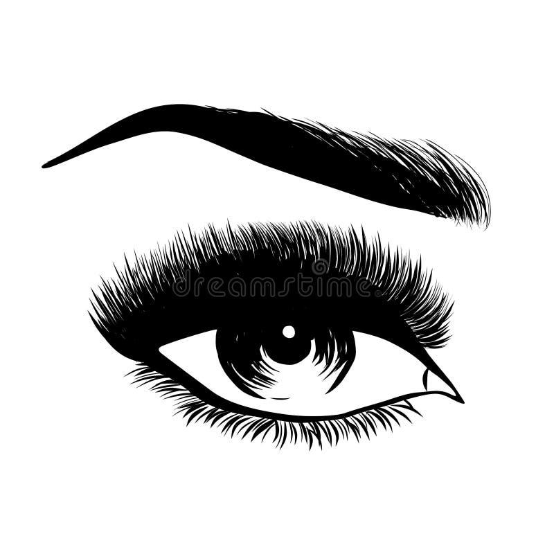 Dame modieus oog en brows met volledige zwepen vector illustratie