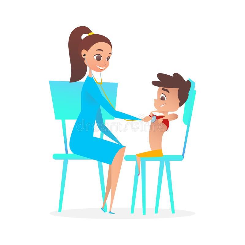 Dame Pediatrician Doctor Examining Boy Patiënt royalty-vrije illustratie
