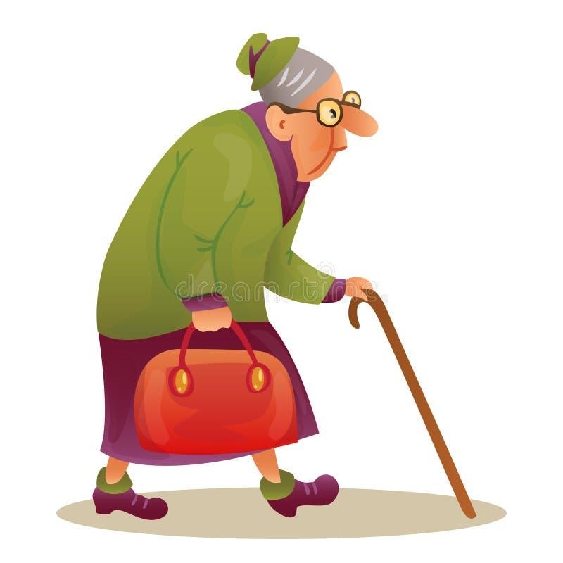 Dame pluse âgé drôle avec des verres Grand-mère avec le bâton et un Ba illustration de vecteur