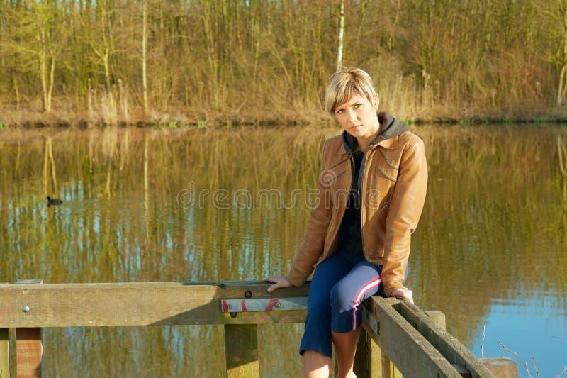 Dame Portrait Outdoors royalty-vrije stock afbeeldingen