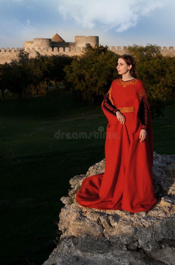 Dame In Red stock afbeeldingen