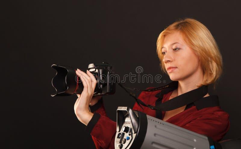 Dame in Rood royalty-vrije stock fotografie