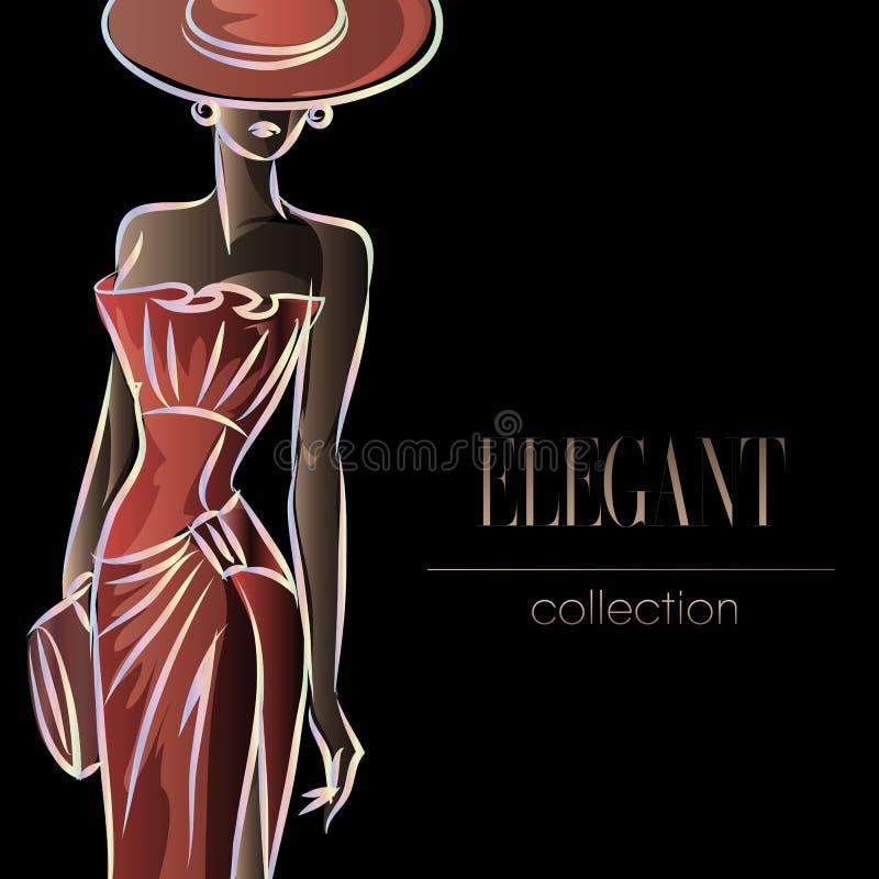 Dame in rood, het silhouet van de maniervrouw, mooie mannequin op zwarte achtergrondembleemillustratie vector illustratie