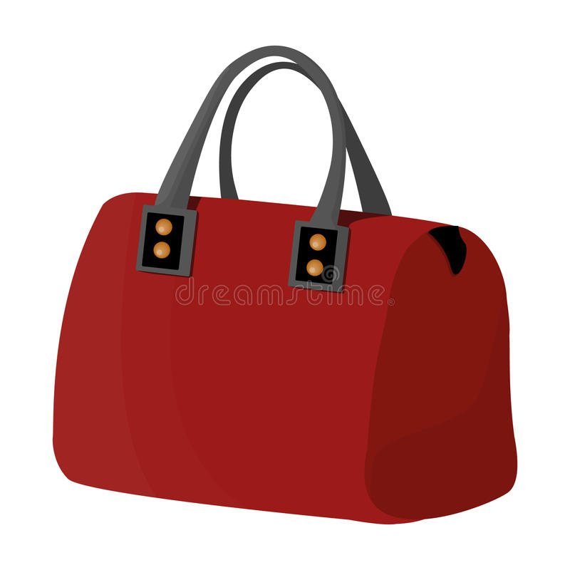 dame` s zak met handvatten Dames bijkomende punten De vrouw kleedt enig pictogram in het vectorsymbool van de beeldverhaalstijl stock illustratie