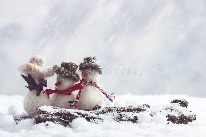 Dame-Schneemänner mit billbord für Ihren Input lizenzfreie stockfotos