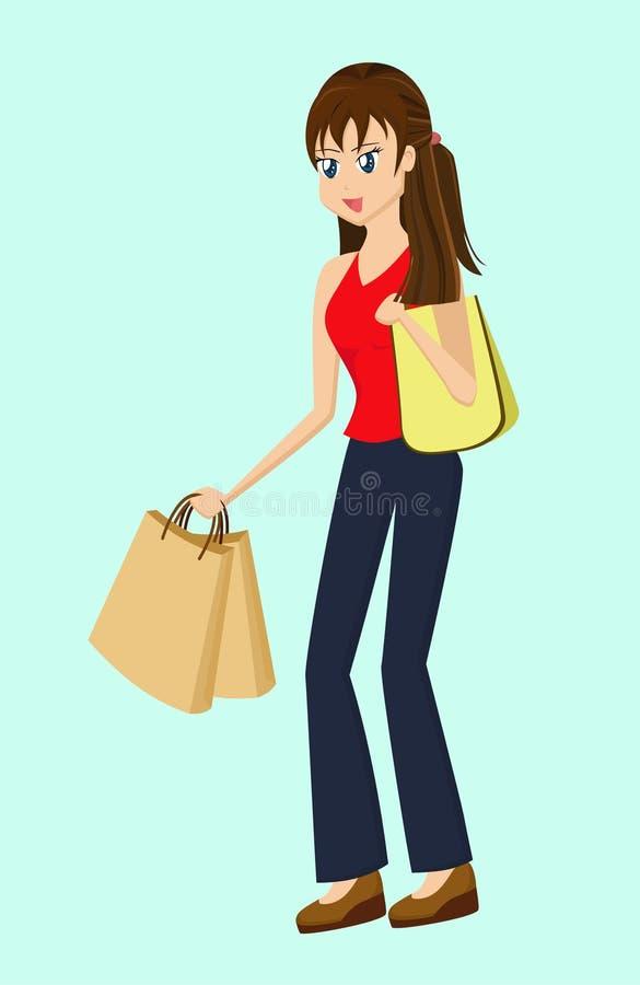 Dame Shopping stock illustratie