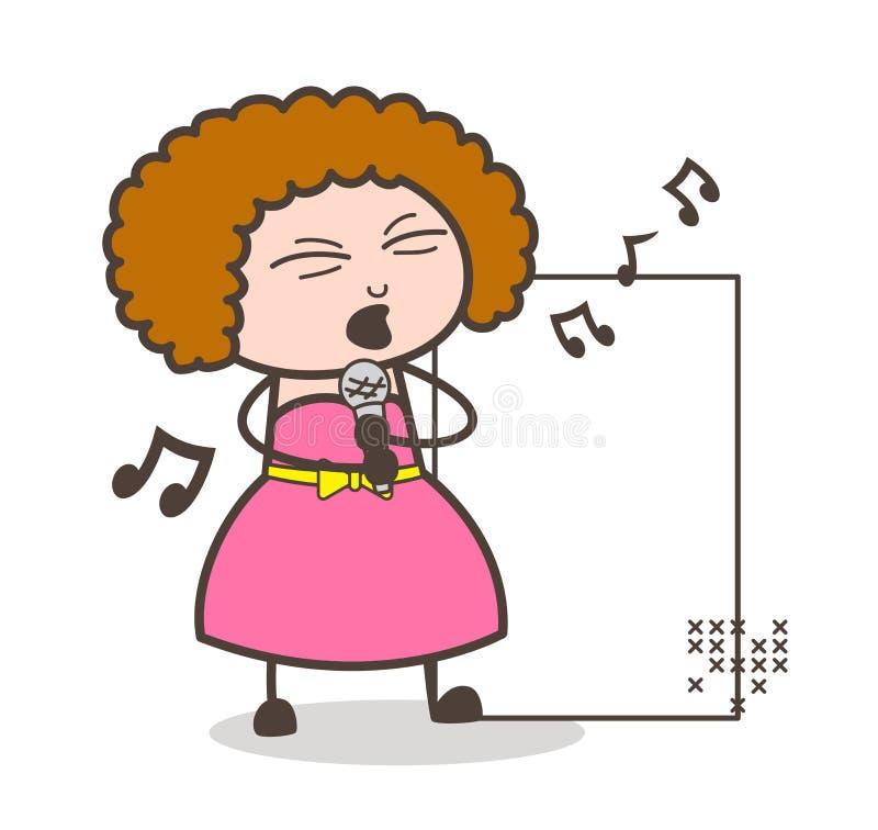 Dame Singer Singing Vector Illustration stock illustratie