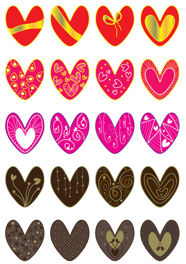 Dame Valentine Love Sets stock illustratie