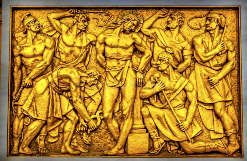 Dame van de de Flagellatie de Ranselende Basiliek van Christus van Rozentuin Fatima Port stock afbeeldingen
