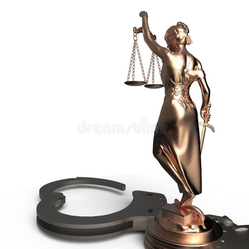 Dame van Rechtvaardigheidsstandbeeld en handcuffs het 3d teruggeven vector illustratie