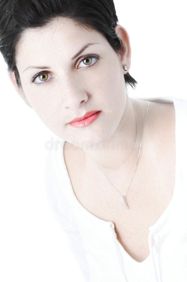 Dame in wit stock foto