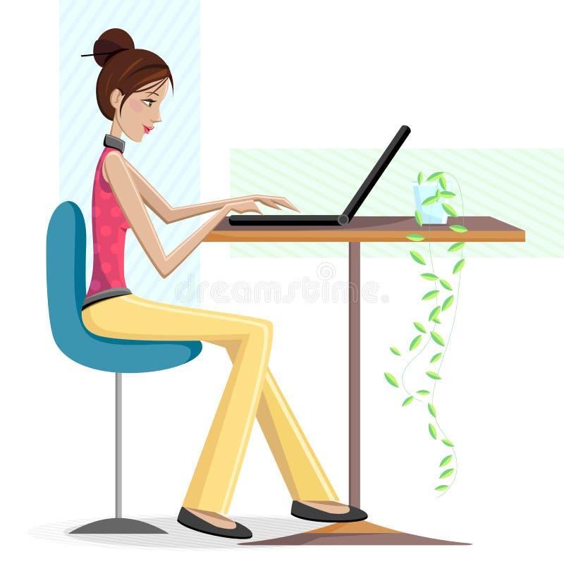 Dame Working op Laptop stock illustratie