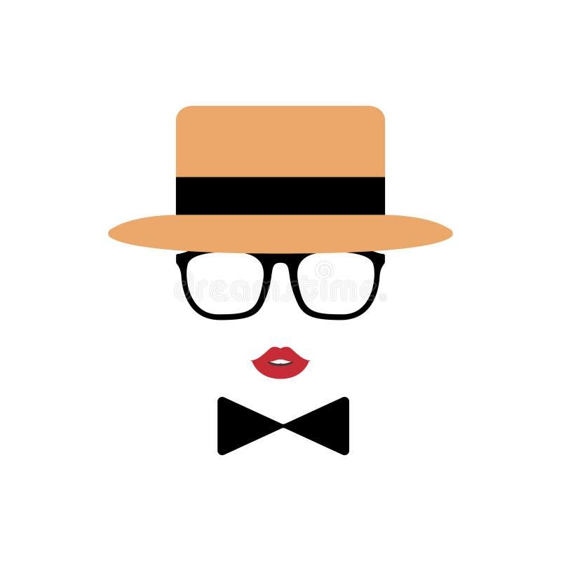Dameavatar in hoed, lippen, glazen en een vlinderdas vector illustratie
