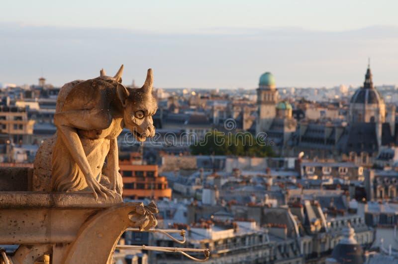 damegargoyle som ser notre över paris arkivfoton