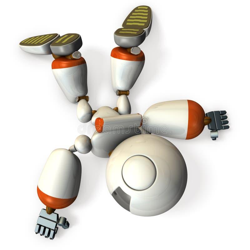 dameged机器人在姿态绊倒 它是一个处境危险 向量例证