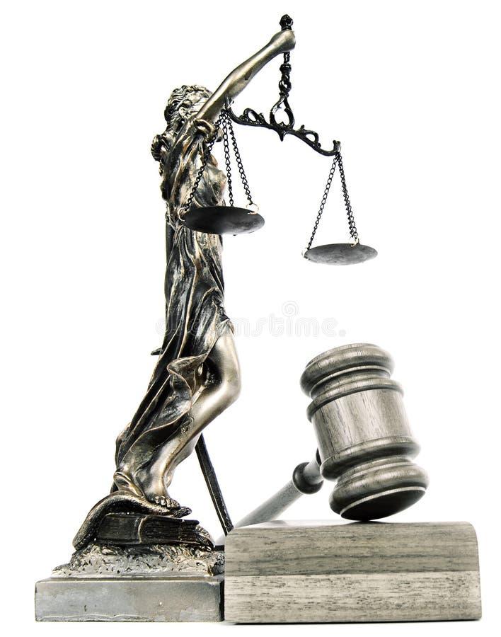 Damegerechtigkeit und ein Hammer stockbilder