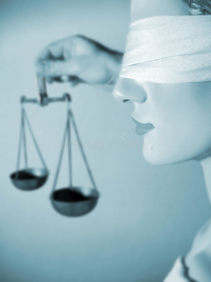 Damegerechtigkeiteinfluß die Skalen von Gerechtigkeit stockbild