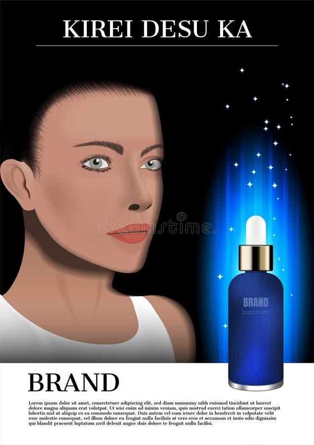 Damegezicht en blauw serum met gloeiende lichte, kosmetische advertentie stock afbeelding