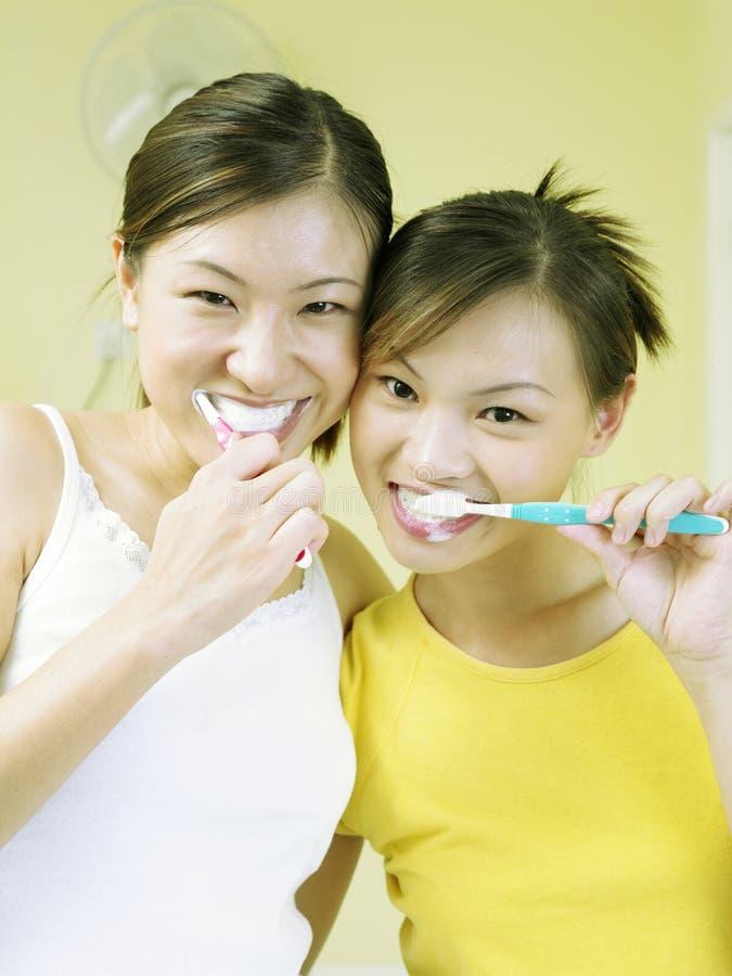 Damen, die Zähne putzen lizenzfreies stockfoto