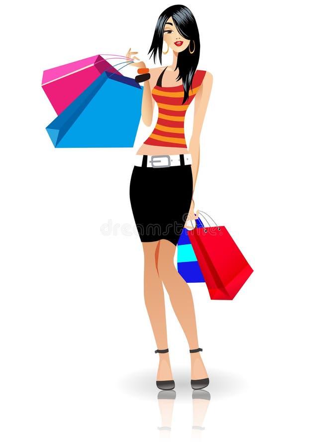 Damen gick att shoppa royaltyfri illustrationer
