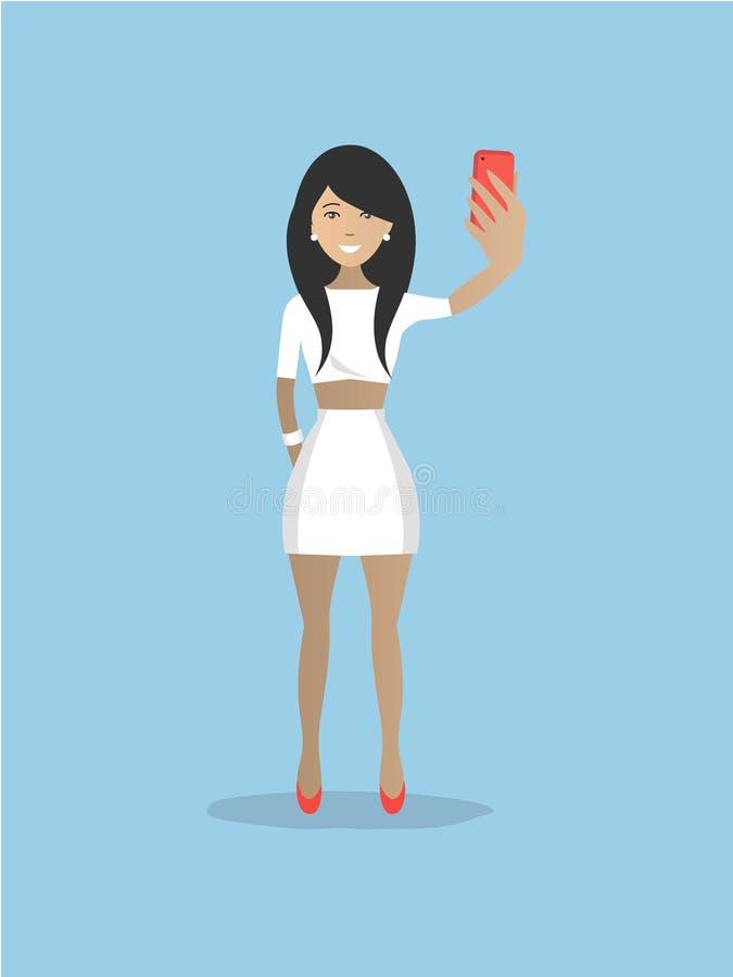 Damen i vit gör selfie vektor illustrationer