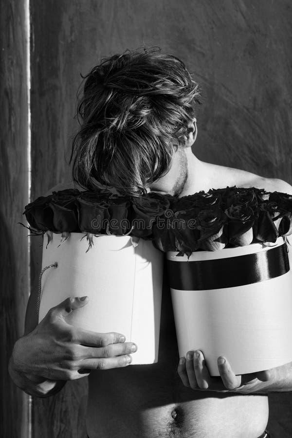 Damen ` Mann Bärtiger muskulöser Mann mit sexy Körper hält Rotrosenkasten stockfotografie