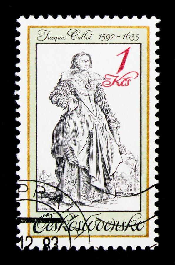 Damen med snör åt kragen, vid Jacques Callot (1592-1635), gamla Unifor fotografering för bildbyråer