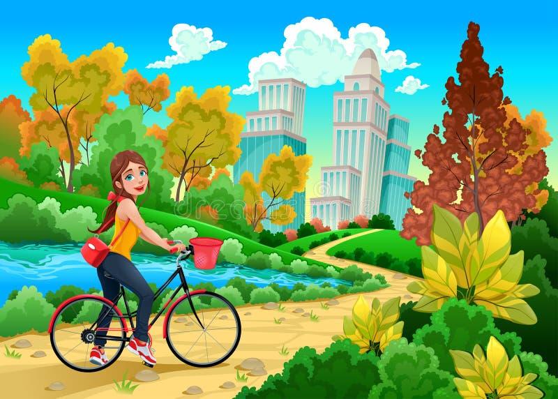 Damen på en cykel i ett stads- parkerar royaltyfri illustrationer