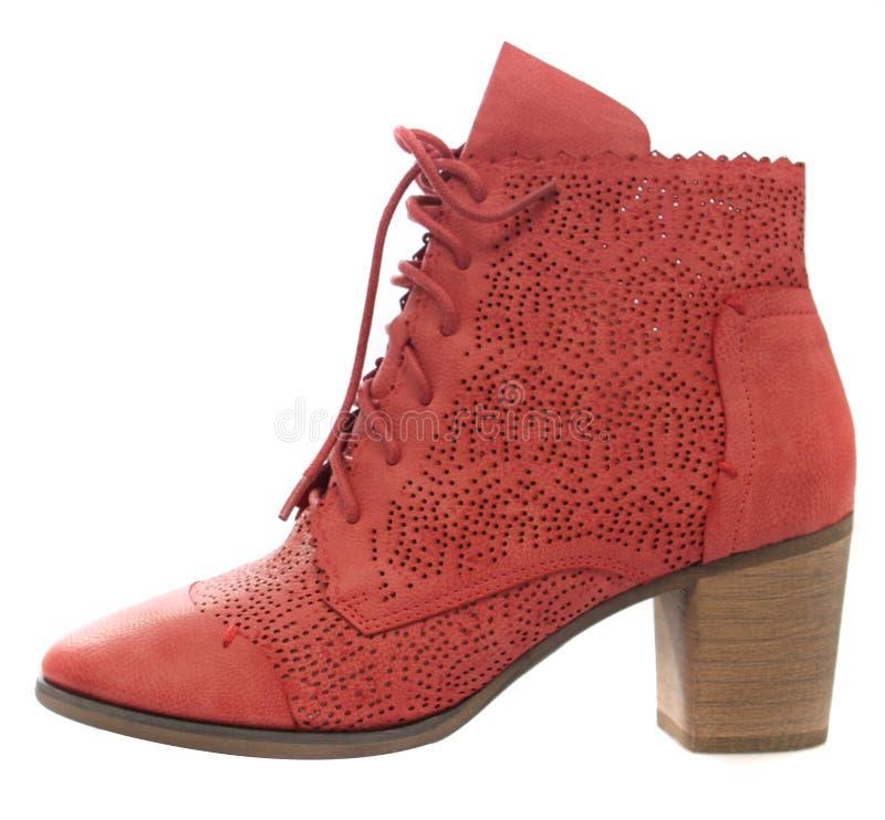 Damen-Stiefel-Rot lizenzfreie stockfotos