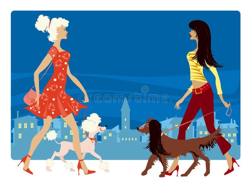Damen und ihre Hunde stock abbildung