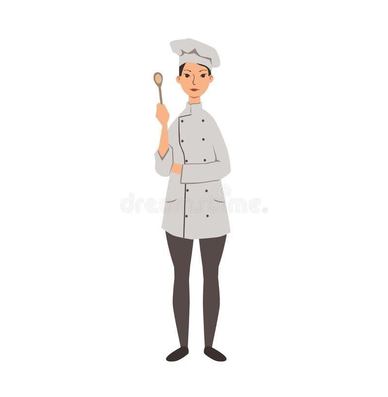 Damenchef auf einem weißen Hintergrund Flache Vektorillustration Getrennt auf weißem Hintergrund lizenzfreie abbildung