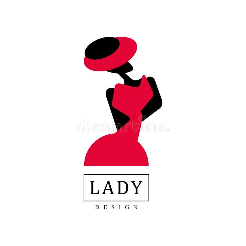 Damendesignlogo, Mode, Schönheitssalon, Studio oder Butike, Schattenbild junger Dame in einer Hutvektor Illustration stock abbildung