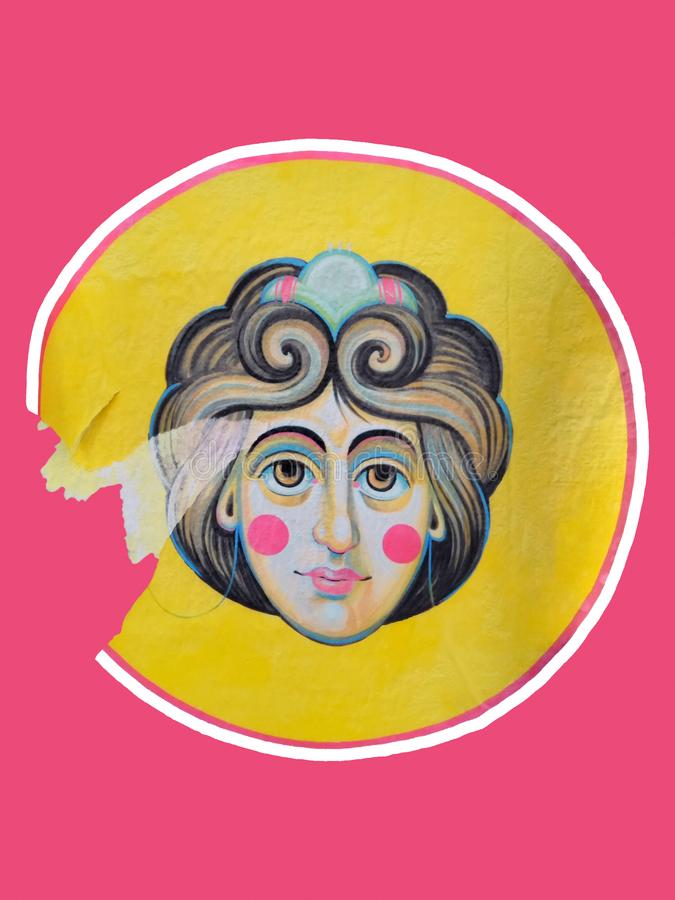 Damenkopf klebte städtische Papierkunst lizenzfreies stockbild