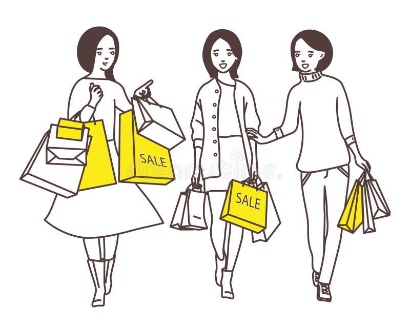 Damer går ner gatan med shoppingpåsar vektor illustrationer