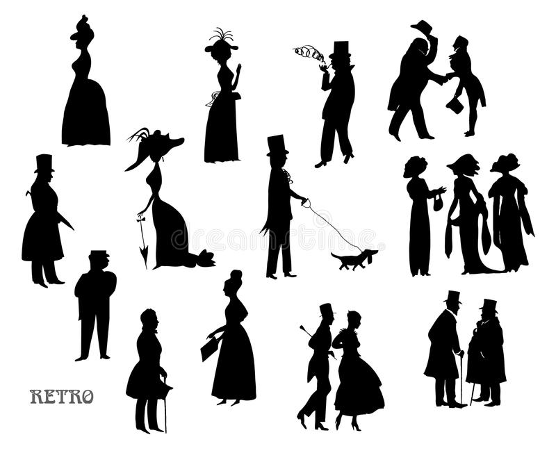 Damer och gentlemän går på, tappningstil, svartvit sil royaltyfri illustrationer