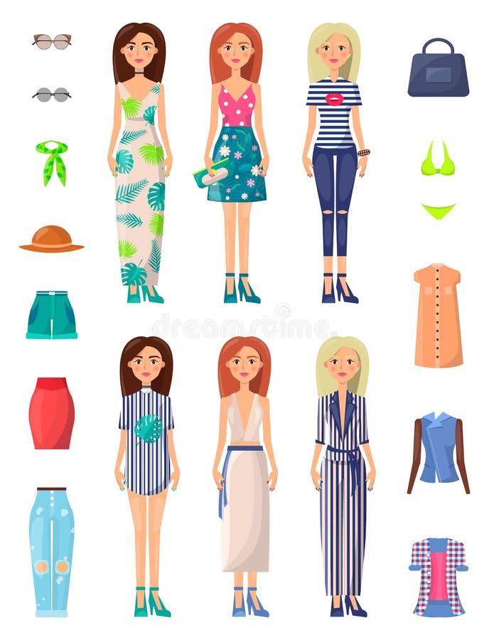 Damer och illustration för vektor för sommarfunktionslägeuppsättning stock illustrationer