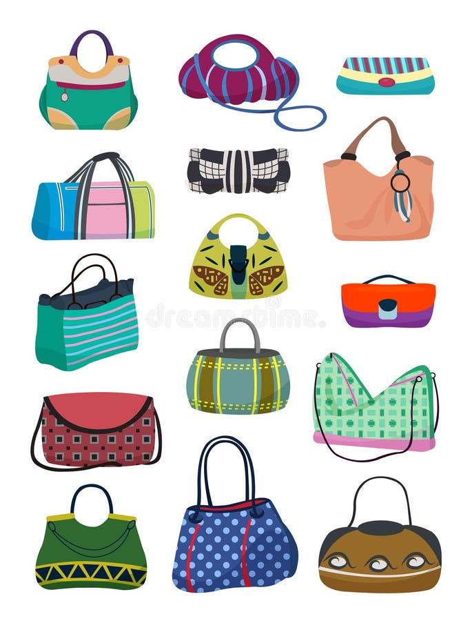 Damers handväskauppsättning royaltyfri illustrationer