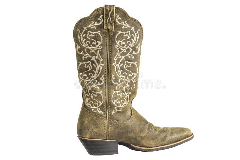 Dames Bruine Westelijke Cowboy Boot stock afbeeldingen