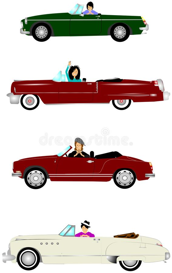 Dames in convertibles royalty-vrije illustratie
