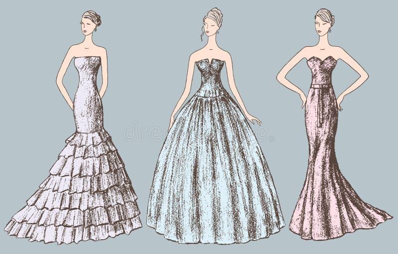 Dames dans des robes de soirée illustration stock