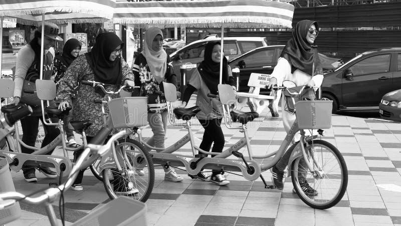 Dames en fiets royalty-vrije stock afbeeldingen